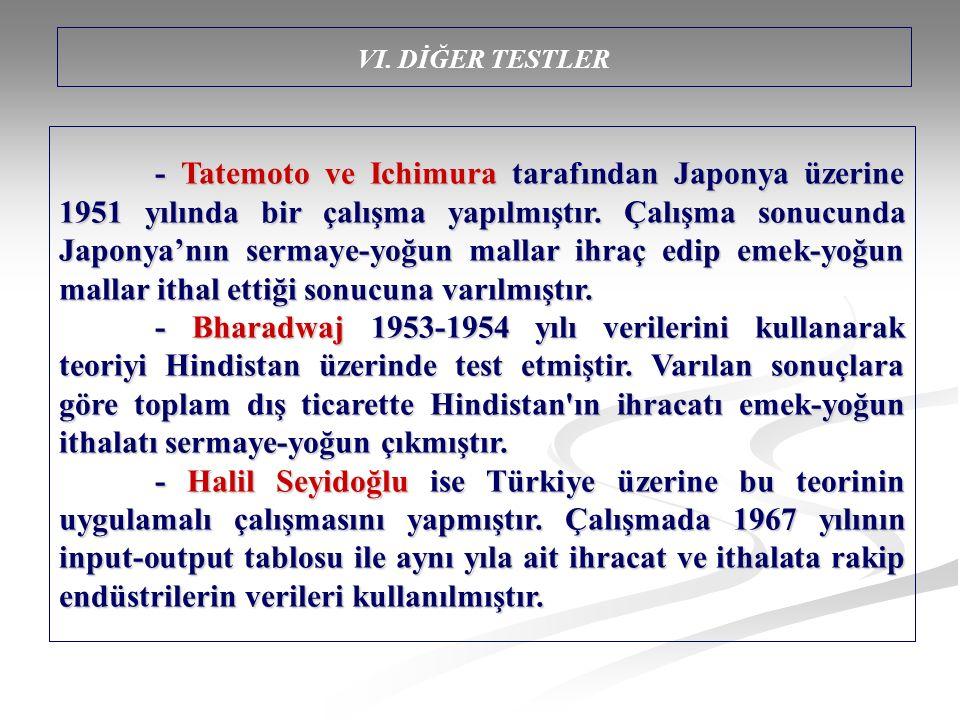 - Tatemoto ve Ichimura tarafından Japonya üzerine 1951 yılında bir çalışma yapılmıştır.