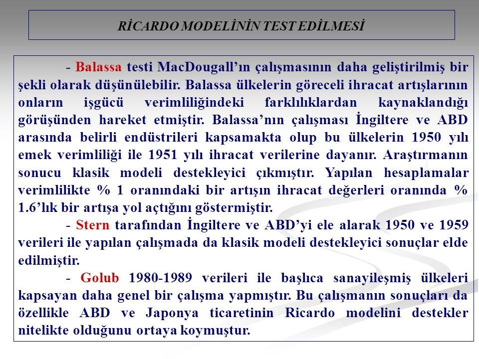 - Balassa testi MacDougall'ın çalışmasının daha geliştirilmiş bir şekli olarak düşünülebilir.
