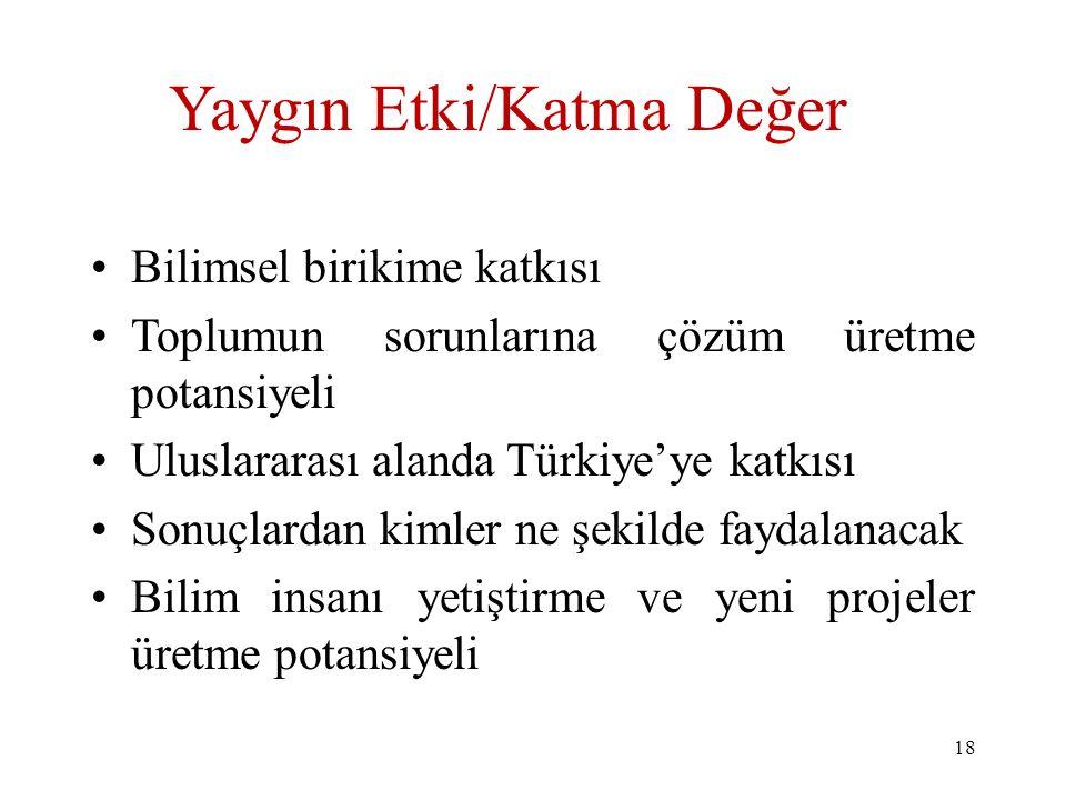 Yaygın Etki/Katma Değer Bilimsel birikime katkısı Toplumun sorunlarına çözüm üretme potansiyeli Uluslararası alanda Türkiye'ye katkısı Sonuçlardan kim