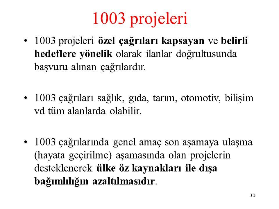1003 projeleri 1003 projeleri özel çağrıları kapsayan ve belirli hedeflere yönelik olarak ilanlar doğrultusunda başvuru alınan çağrılardır. 1003 çağrı