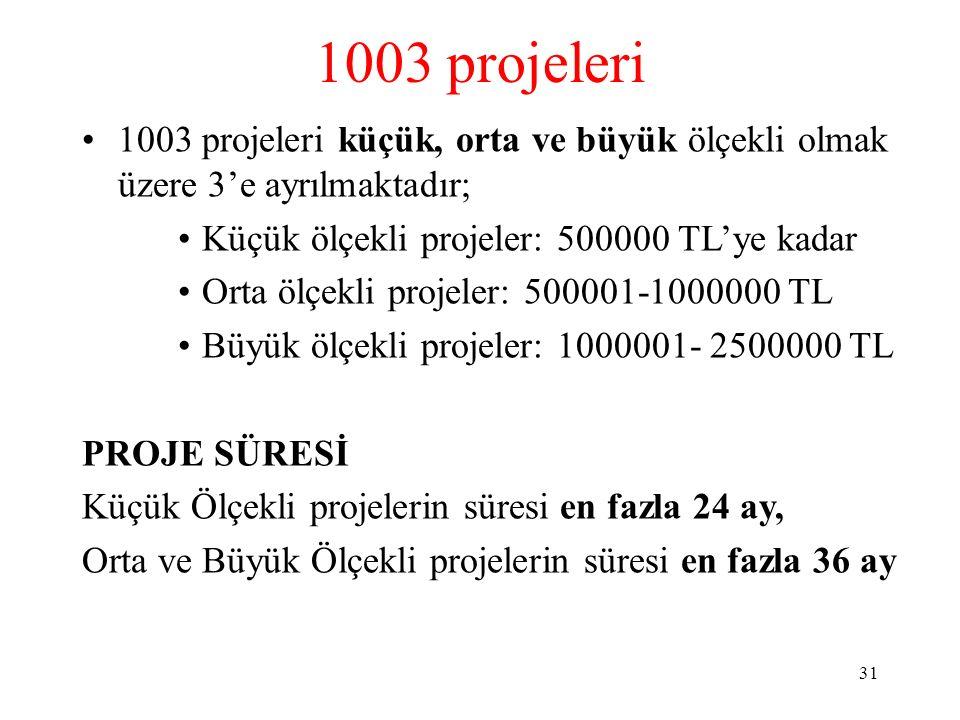 1003 projeleri 1003 projeleri küçük, orta ve büyük ölçekli olmak üzere 3'e ayrılmaktadır; Küçük ölçekli projeler: 500000 TL'ye kadar Orta ölçekli proj