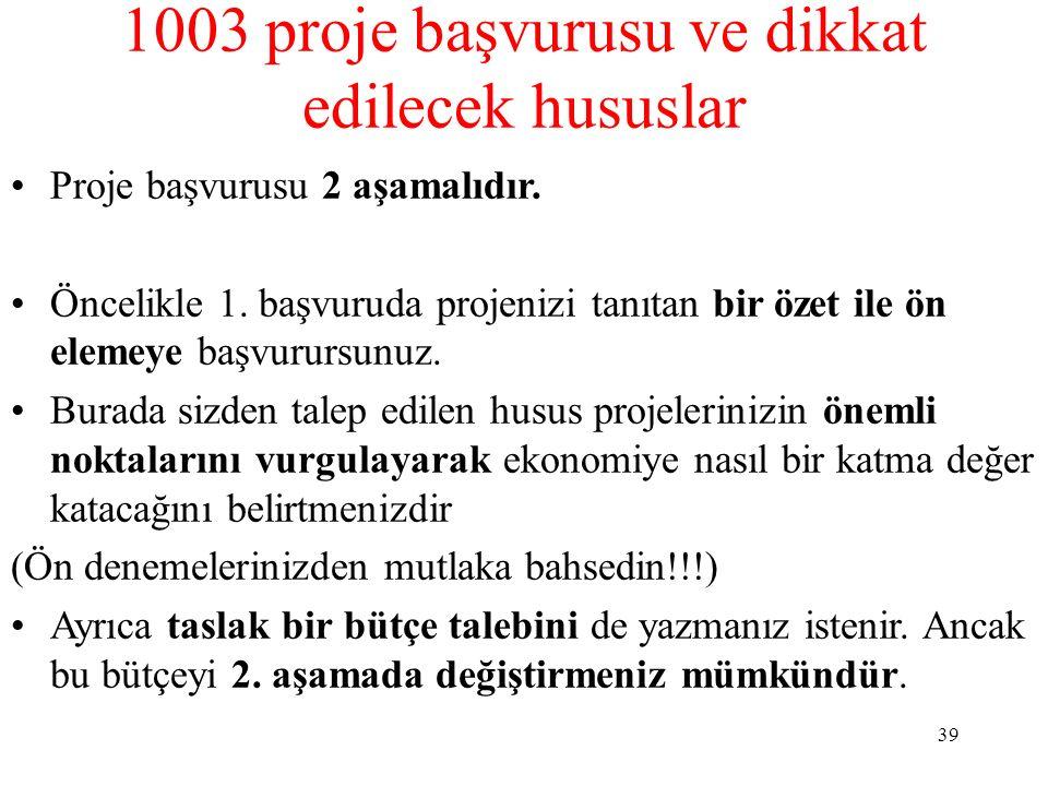 1003 proje başvurusu ve dikkat edilecek hususlar Proje başvurusu 2 aşamalıdır. Öncelikle 1. başvuruda projenizi tanıtan bir özet ile ön elemeye başvur