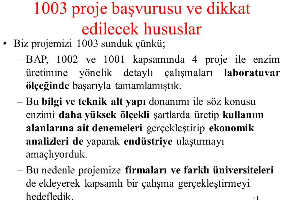 1003 proje başvurusu ve dikkat edilecek hususlar Biz projemizi 1003 sunduk çünkü; –BAP, 1002 ve 1001 kapsamında 4 proje ile enzim üretimine yönelik de