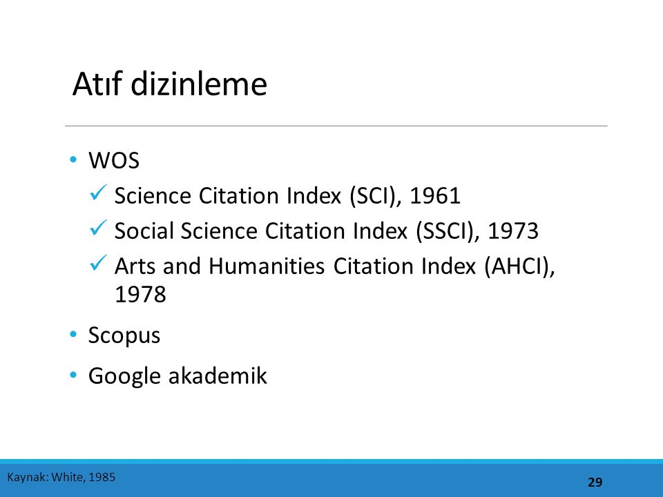 Atıf dizinleme WOS Science Citation Index (SCI), 1961 Social Science Citation Index (SSCI), 1973 Arts and Humanities Citation Index (AHCI), 1978 Scopu