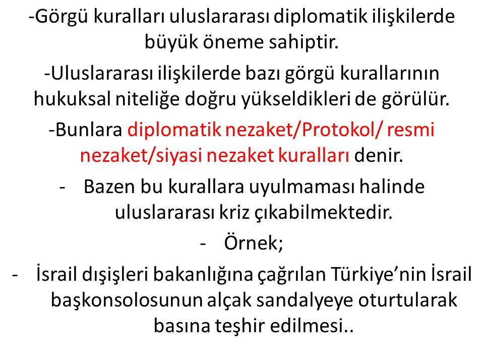-Görgü kuralları uluslararası diplomatik ilişkilerde büyük öneme sahiptir. -Uluslararası ilişkilerde bazı görgü kurallarının hukuksal niteliğe doğru y