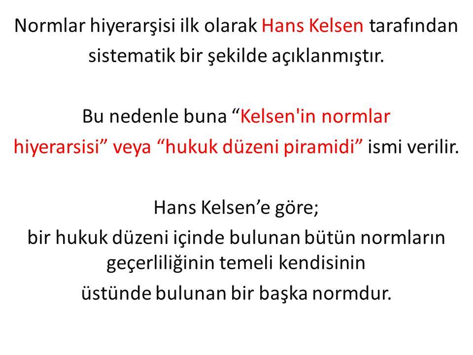 """Normlar hiyerarşisi ilk olarak Hans Kelsen tarafından sistematik bir şekilde açıklanmıştır. Bu nedenle buna """"Kelsen'in normlar hiyerarsisi"""" veya """"huku"""