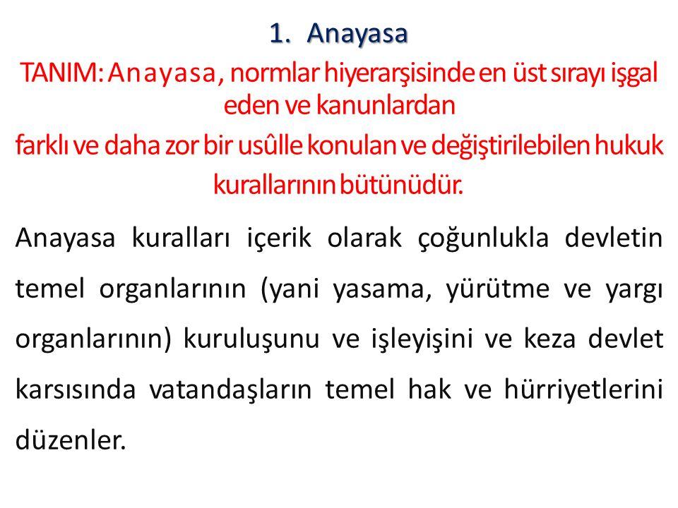 1.Anayasa TANIM: A n a y a s a, normlar hiyerarşisinde en üst sırayı işgal eden ve kanunlardan farklı ve daha zor bir usûlle konulan ve değiştirilebil