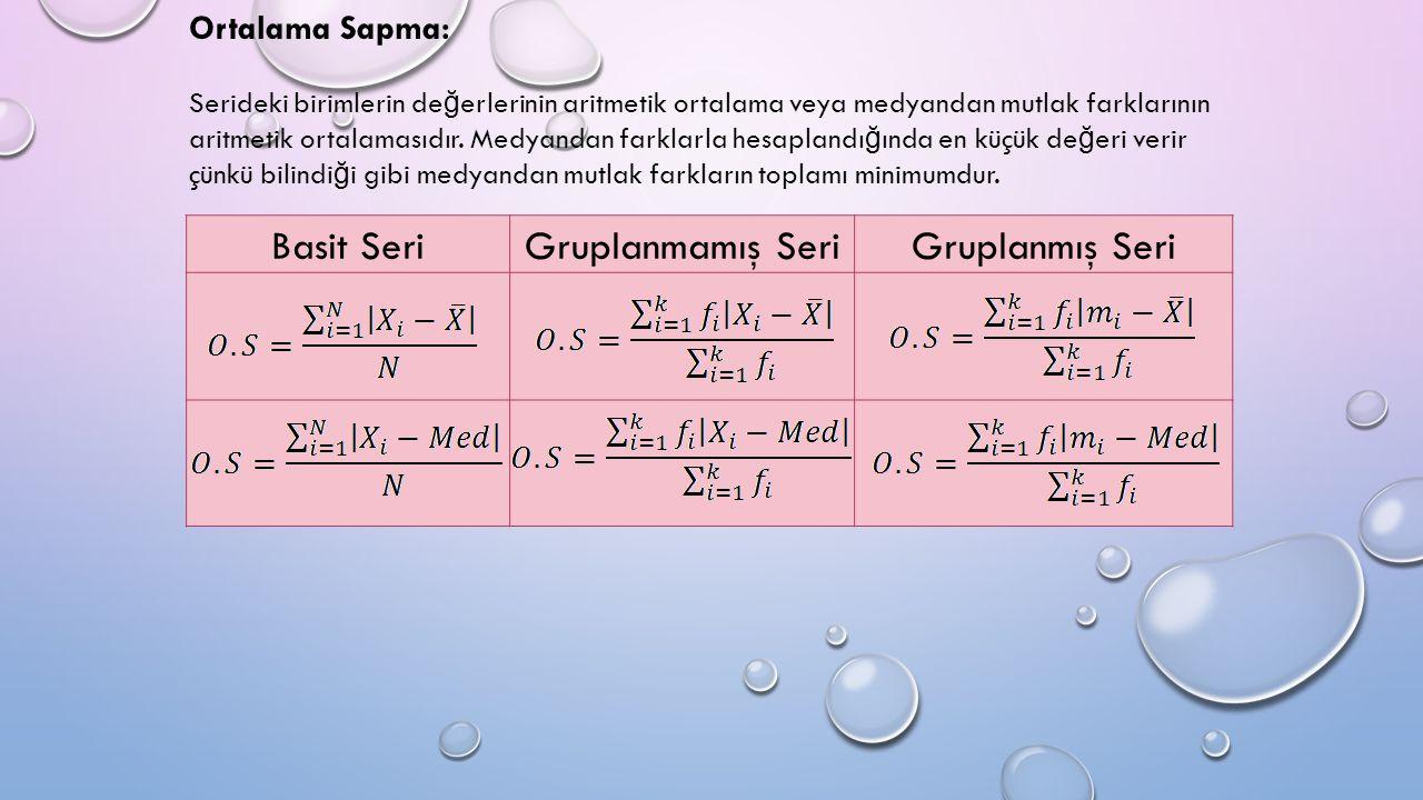 Ortalama Sapma: Serideki birimlerin de ğ erlerinin aritmetik ortalama veya medyandan mutlak farklarının aritmetik ortalamasıdır.