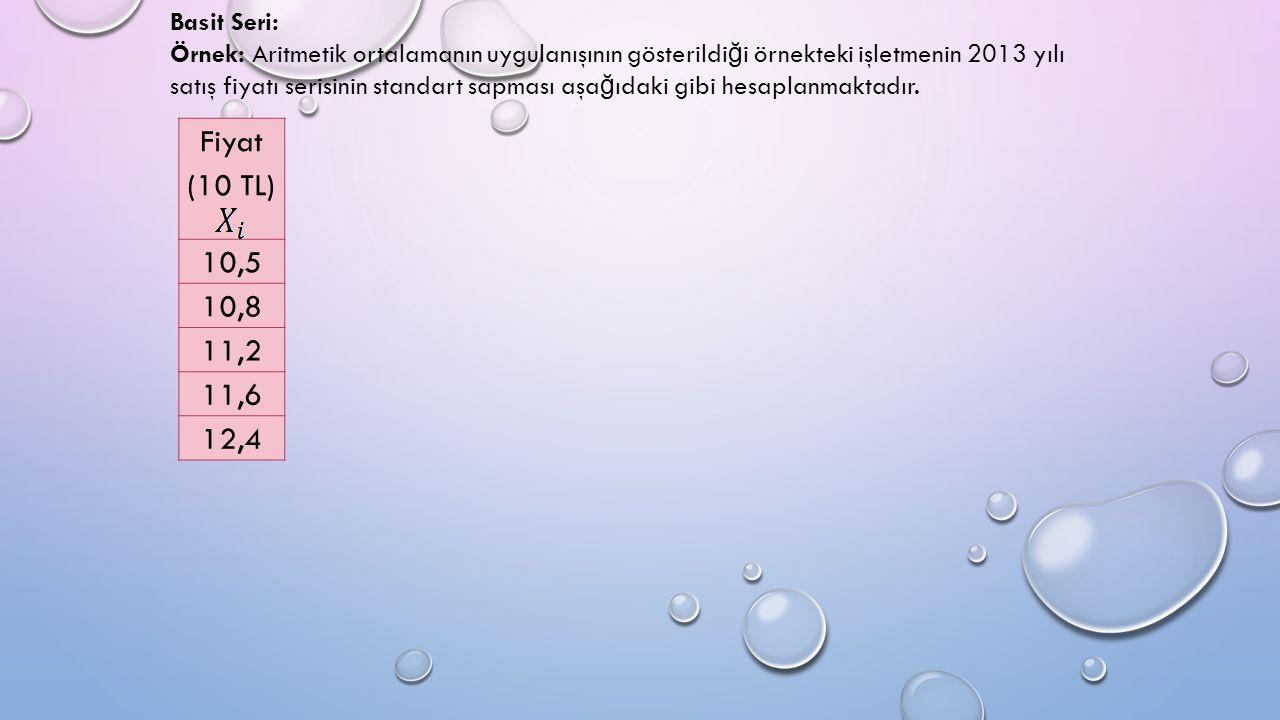 Basit Seri: Örnek: Aritmetik ortalamanın uygulanışının gösterildi ğ i örnekteki işletmenin 2013 yılı satış fiyatı serisinin standart sapması aşa ğ ıdaki gibi hesaplanmaktadır.
