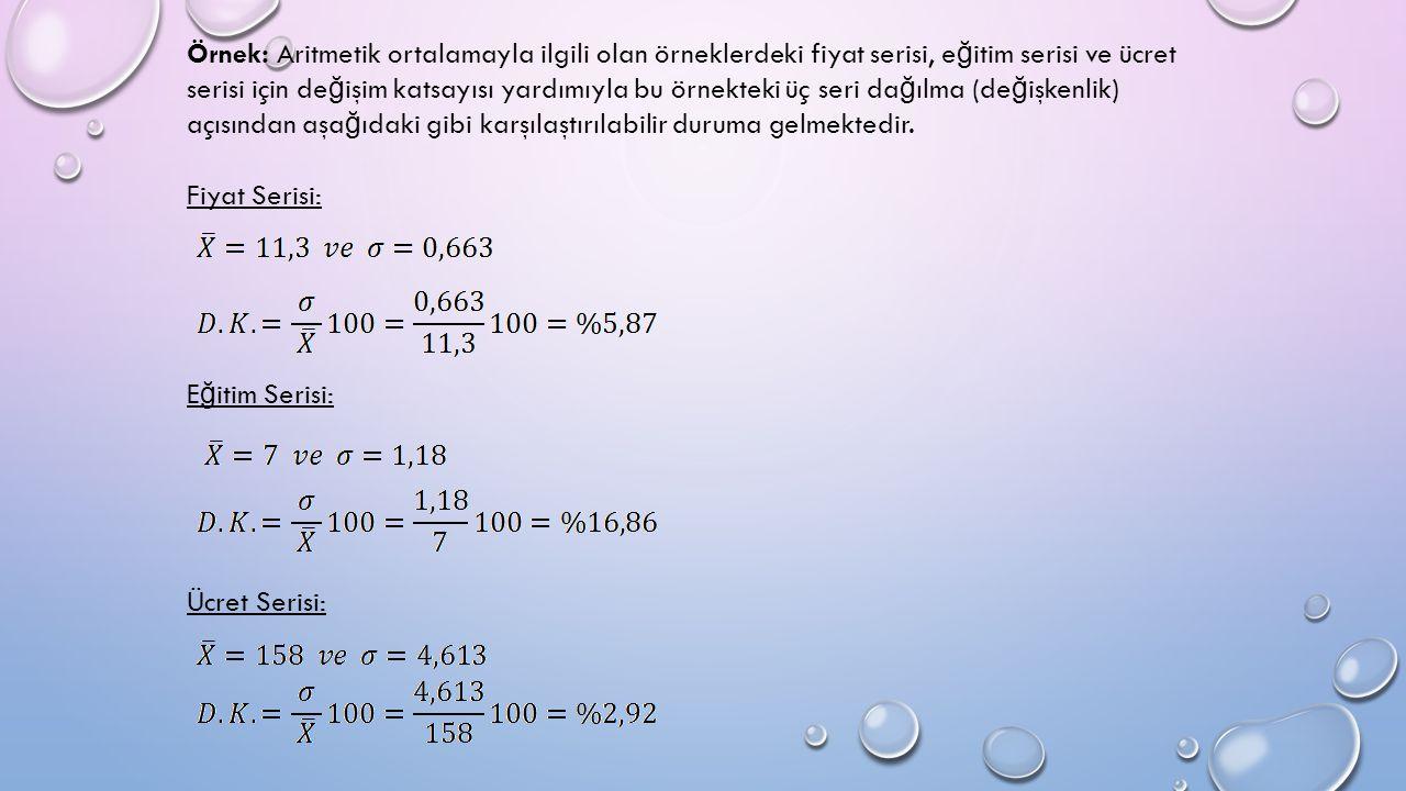 Örnek: Aritmetik ortalamayla ilgili olan örneklerdeki fiyat serisi, e ğ itim serisi ve ücret serisi için de ğ işim katsayısı yardımıyla bu örnekteki üç seri da ğ ılma (de ğ işkenlik) açısından aşa ğ ıdaki gibi karşılaştırılabilir duruma gelmektedir.