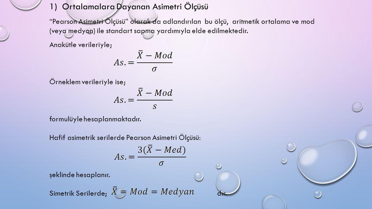 1) Ortalamalara Dayanan Asimetri Ölçüsü Pearson Asimetri Ölçüsü olarak da adlandırılan bu ölçü, aritmetik ortalama ve mod (veya medyan) ile standart sapma yardımıyla elde edilmektedir.