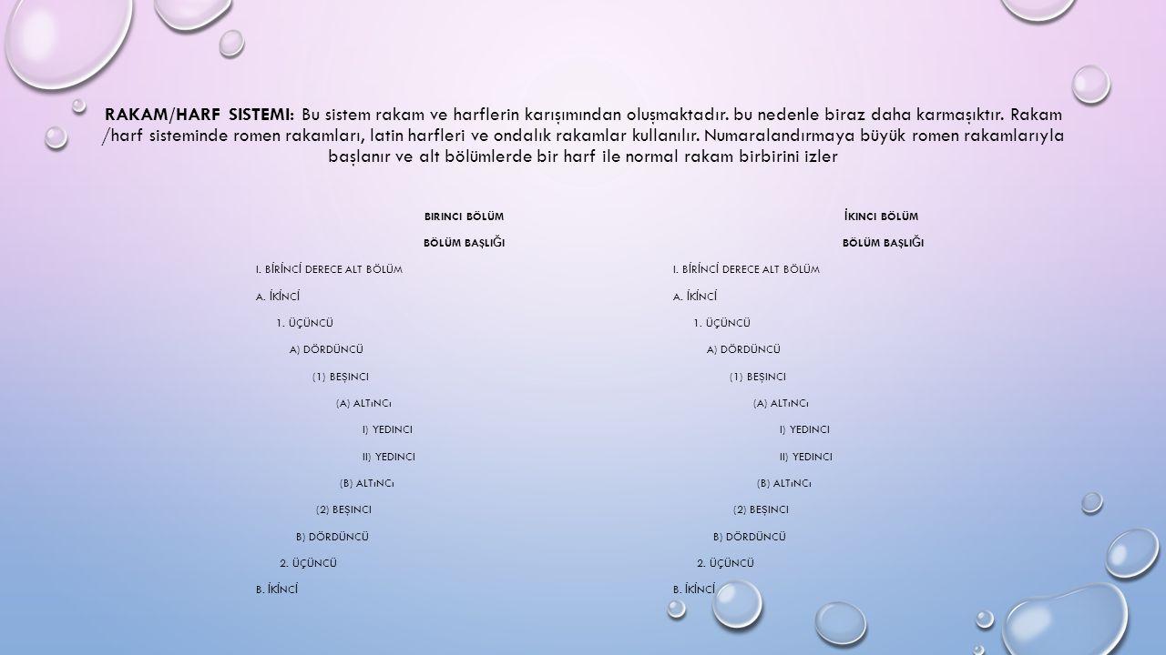 RAKAM/HARF SISTEMI: Bu sistem rakam ve harflerin karışımından oluşmaktadır.