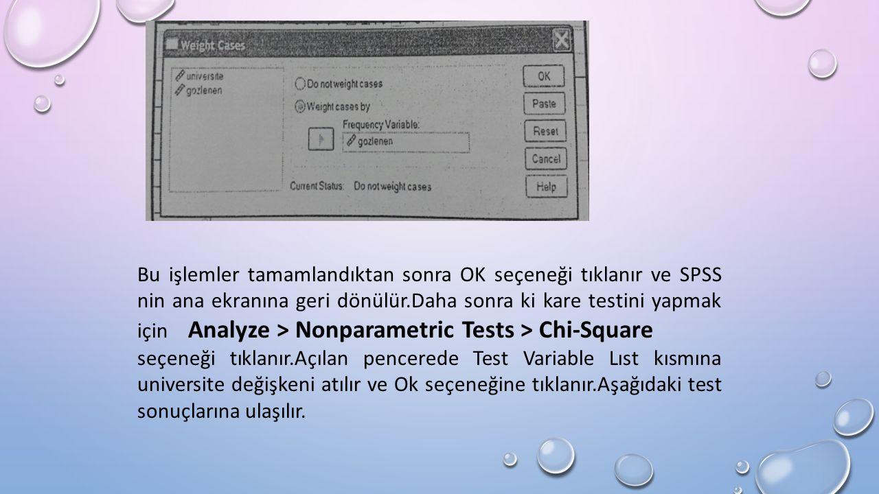 Bu işlemler tamamlandıktan sonra OK seçeneği tıklanır ve SPSS nin ana ekranına geri dönülür.Daha sonra ki kare testini yapmak için Analyze > Nonparametric Tests > Chi-Square seçeneği tıklanır.Açılan pencerede Test Variable Lıst kısmına universite değişkeni atılır ve Ok seçeneğine tıklanır.Aşağıdaki test sonuçlarına ulaşılır.