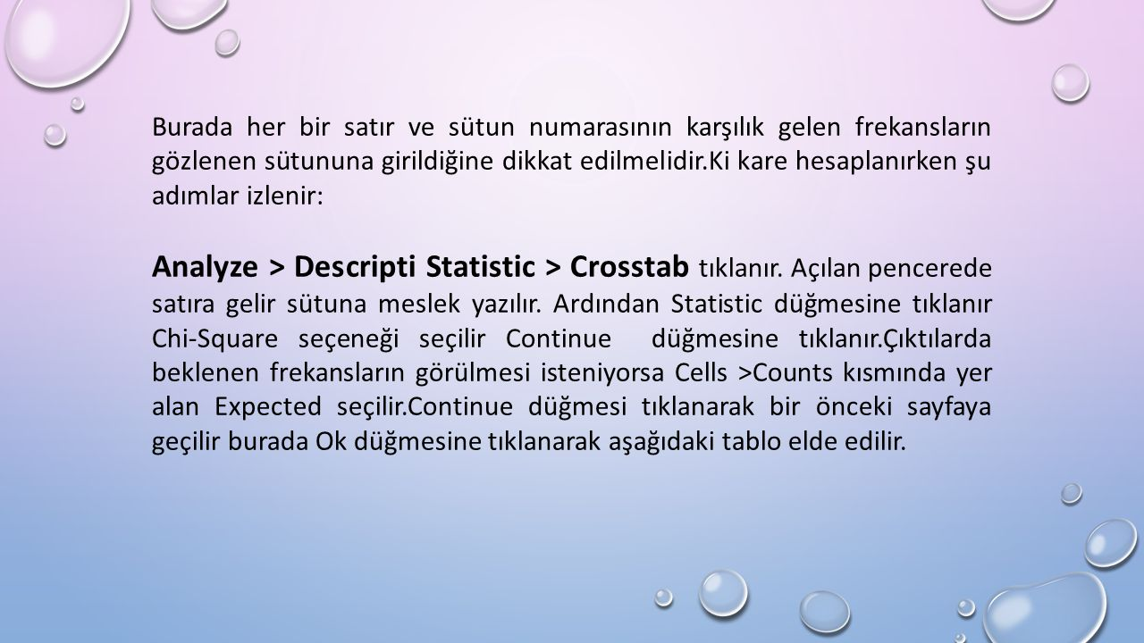 Burada her bir satır ve sütun numarasının karşılık gelen frekansların gözlenen sütununa girildiğine dikkat edilmelidir.Ki kare hesaplanırken şu adımlar izlenir: Analyze > Descripti Statistic > Crosstab tıklanır.