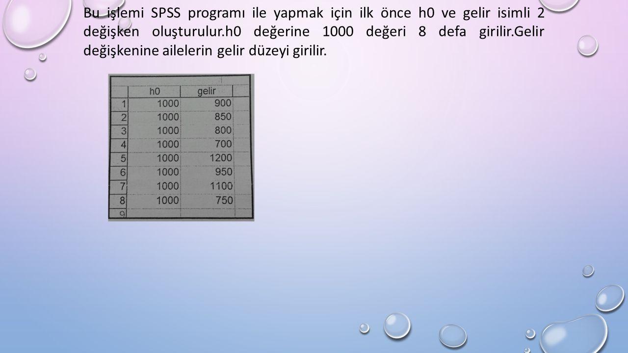 Bu işlemi SPSS programı ile yapmak için ilk önce h0 ve gelir isimli 2 değişken oluşturulur.h0 değerine 1000 değeri 8 defa girilir.Gelir değişkenine ailelerin gelir düzeyi girilir.