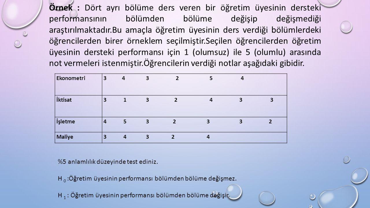 Örnek : Dört ayrı bölüme ders veren bir öğretim üyesinin dersteki performansının bölümden bölüme değişip değişmediği araştırılmaktadır.Bu amaçla öğretim üyesinin ders verdiği bölümlerdeki öğrencilerden birer örneklem seçilmiştir.Seçilen öğrencilerden öğretim üyesinin dersteki performansı için 1 (olumsuz) ile 5 (olumlu) arasında not vermeleri istenmiştir.Öğrencilerin verdiği notlar aşağıdaki gibidir.