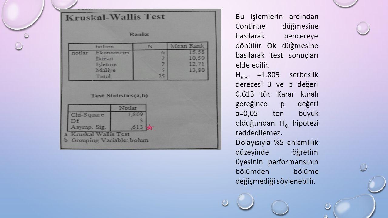 Bu işlemlerin ardından Continue düğmesine basılarak pencereye dönülür Ok düğmesine basılarak test sonuçları elde edilir.