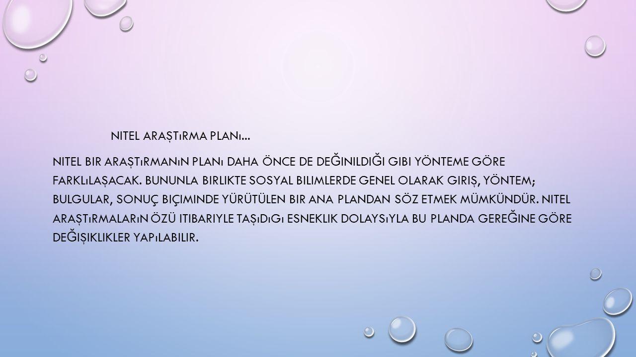 NITEL ARAŞTıRMA PLANı...