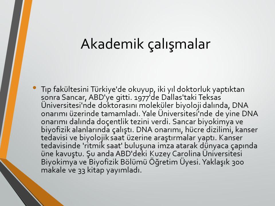 Akademik çalışmalar Tıp fakültesini Türkiye de okuyup, iki yıl doktorluk yaptıktan sonra Sancar, ABD ye gitti.