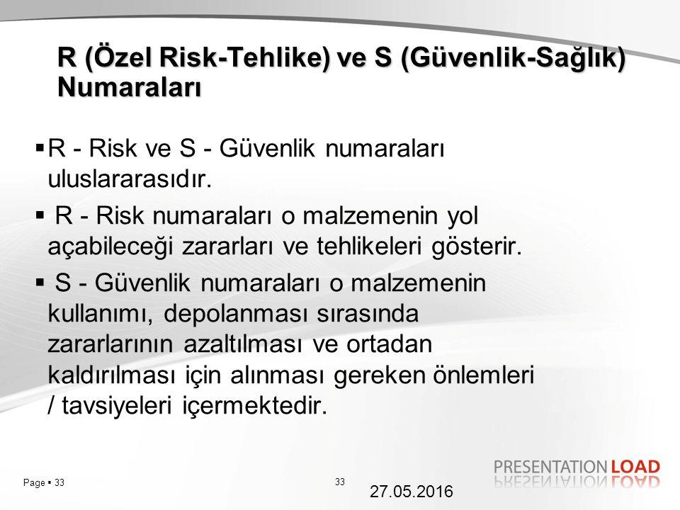 Page  33  R - Risk ve S - Güvenlik numaraları uluslararasıdır.  R - Risk numaraları o malzemenin yol açabileceği zararları ve tehlikeleri gösterir.