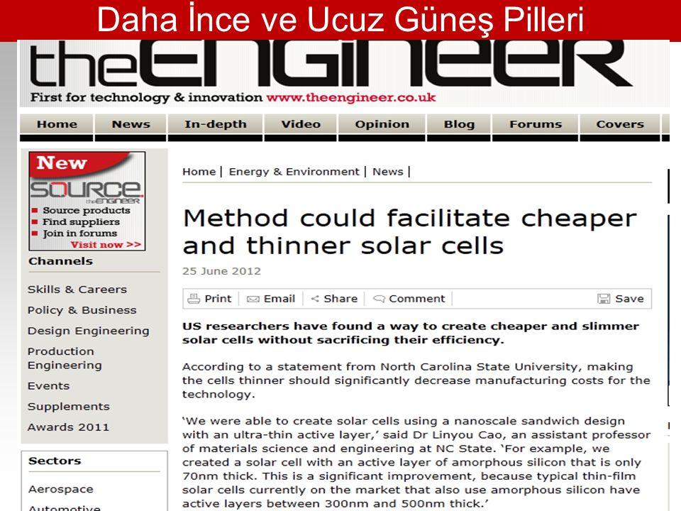 Daha İnce ve Ucuz Güneş Pilleri