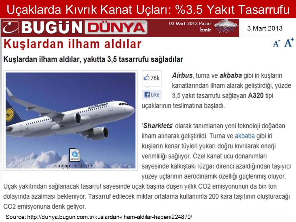 Uçaklarda Kıvrık Kanat Uçları: %3.5 Yakıt Tasarrufu Source: http://dunya.bugun.com.tr/kuslardan-ilham-aldilar-haberi/224870/ 3 Mart 2013