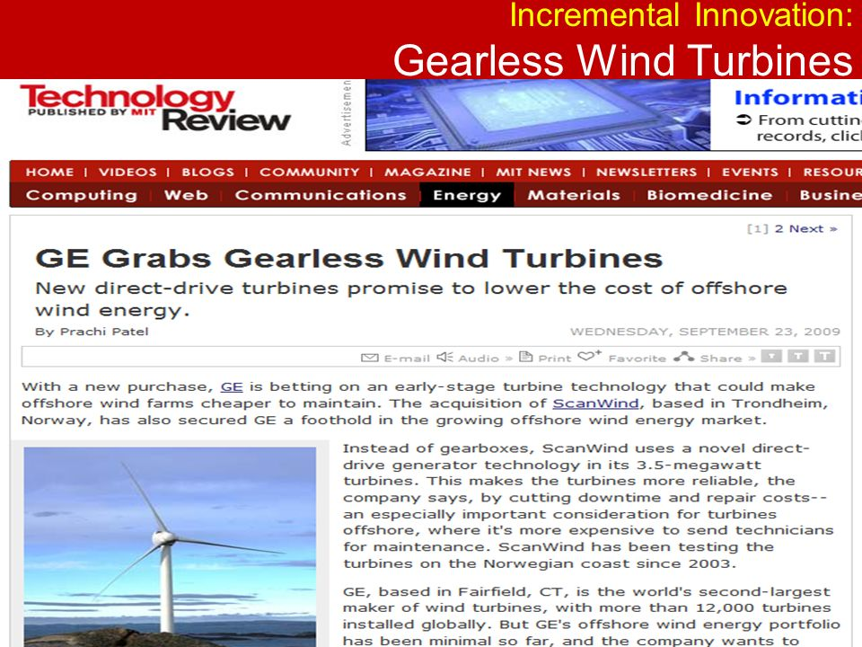 Incremental Innovation: Gearless Wind Turbines