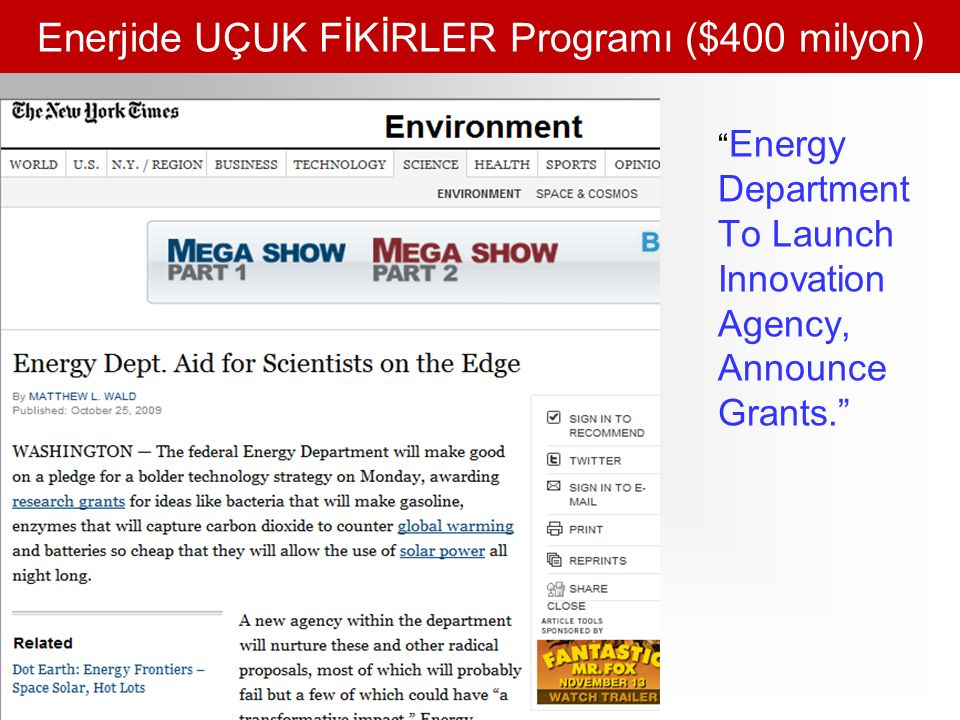 Enerjide UÇUK FİKİRLER Programı ($400 milyon) Energy Department To Launch Innovation Agency, Announce Grants.