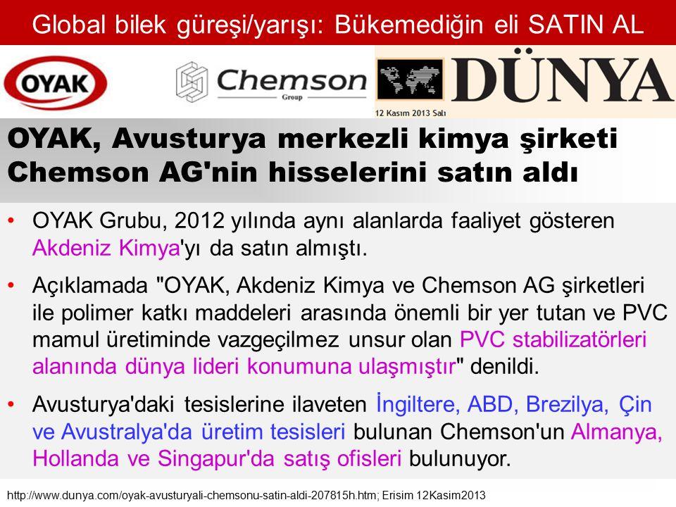 Global bilek güreşi/yarışı: Bükemediğin eli SATIN AL OYAK Grubu, 2012 yılında aynı alanlarda faaliyet gösteren Akdeniz Kimya yı da satın almıştı.