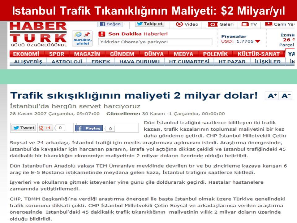 Istanbul Trafik Tıkanıklığının Maliyeti: $2 Milyar/yıl