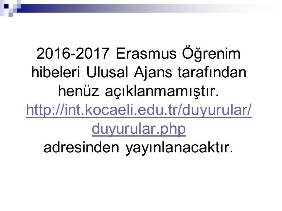 2016-2017 Erasmus Öğrenim hibeleri Ulusal Ajans tarafından henüz açıklanmamıştır.