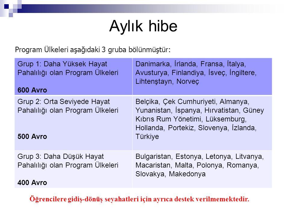 Aylık hibe Program Ülkeleri aşağıdaki 3 gruba bölünmüştür: Öğrencilere gidiş-dönüş seyahatleri için ayrıca destek verilmemektedir.