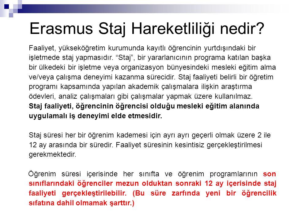 Erasmus Staj Hareketliliği nedir.