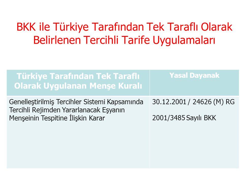 Tercihli Ticaret Anlaşmaları Serbest Ticaret AnlaşmasıYasal Dayanak Pan Avrupa Akdeniz Menşe Kümülasyon Sistemi Kapsamı Ticarette Eşyanın Tercihli Menşeinin Tespiti Hakkında Yönetmelik 26.11.2009 / 27418 RG Batı Balkan Menşe Kümülasyon Sistemi Kapsamı Ticarette Eşyanın Tercihli Menşeinin Tespiti Hakkında Yönetmelik 19.07.2009 / 27293 RG İki Taraflı Menşe Kümülasyon Sistemi Kapsamı Ticarette Eşyanın Tercihli Menşeinin Tespiti Hakkında Yönetmelik 19.07.2009 / 27293 RG Türkiye ile Avrupa Topluluğu Arasında Oluşturulan Gümrük Birliği'nin Uygulanmasına İlişkin Esaslar Hakkında Karar 28.09.2006 / 26303 RG 2006/10895 BKK