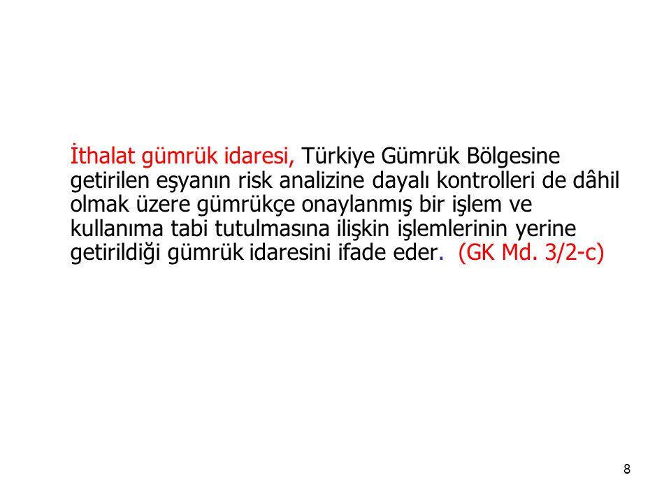 178 Gümrük idareleri, mevzuatın belirlediği şartlar çerçevesinde, Türkiye Gümrük Bölgesi ile diğer ülkeler arasında taşınan eşyanın;  Giriş,  Çıkış,  Transit, aktarma  Nihai kullanımını  Serbest dolaşımda bulunmayan eşyanın durumunu Düzenleyen gümrük mevzuatı ve diğer mevzuatın doğru uygulanmasını sağlamak için gerekli görülen gümrük kontrollerini yerine getirir.