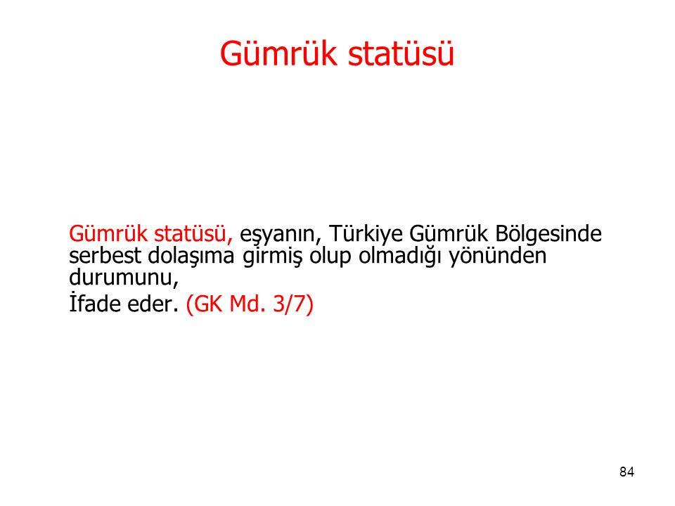 83 Serbest Dolaşımda Bulunmayan Eşya Serbest dolaşımda bulunmayan eşya deyimi;  Serbest dolaşımda bulunan eşya dışında kalan eşya ile  Transit hükümleri saklı kalmak üzere Türkiye Gümrük Bölgesini fiilen terk eden eşyayı İfade eder.