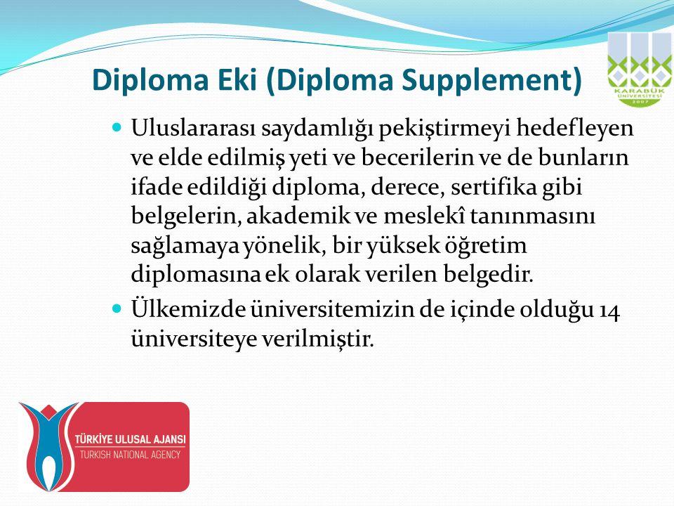 Diploma Eki (Diploma Supplement) Uluslararası saydamlığı pekiştirmeyi hedefleyen ve elde edilmiş yeti ve becerilerin ve de bunların ifade edildiği diploma, derece, sertifika gibi belgelerin, akademik ve meslekî tanınmasını sağlamaya yönelik, bir yüksek öğretim diplomasına ek olarak verilen belgedir.