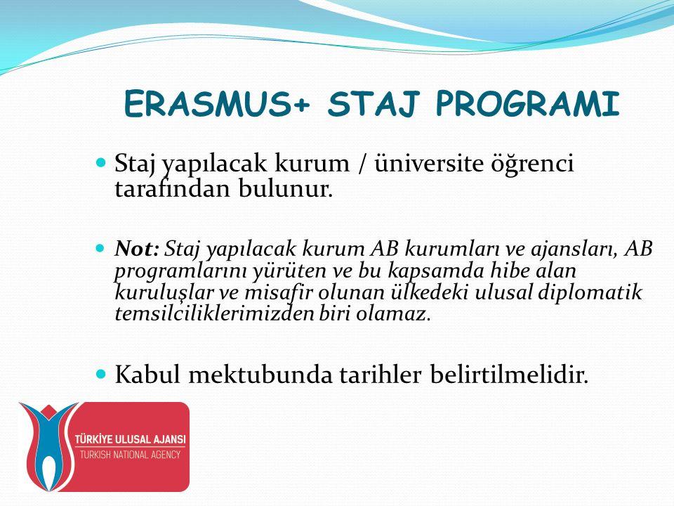 ERASMUS+ STAJ PROGRAMI Staj yapılacak kurum / üniversite öğrenci tarafından bulunur.