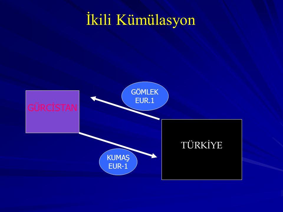 İkili Kümülasyon GÜRCİSTAN TÜRKİYE KUMAŞ EUR-1 GÖMLEK EUR.1