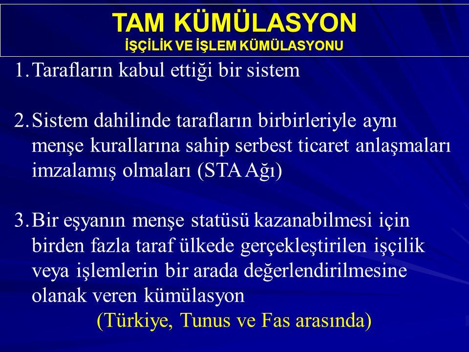 TAM KÜMÜLASYON İŞÇİLİK VE İŞLEM KÜMÜLASYONU 1.Tarafların kabul ettiği bir sistem 2.Sistem dahilinde tarafların birbirleriyle aynı menşe kurallarına sahip serbest ticaret anlaşmaları imzalamış olmaları (STA Ağı) 3.Bir eşyanın menşe statüsü kazanabilmesi için birden fazla taraf ülkede gerçekleştirilen işçilik veya işlemlerin bir arada değerlendirilmesine olanak veren kümülasyon (Türkiye, Tunus ve Fas arasında)