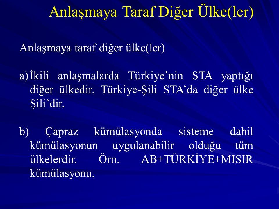 Anlaşmaya Taraf Diğer Ülke(ler) Anlaşmaya taraf diğer ülke(ler) a)İkili anlaşmalarda Türkiye'nin STA yaptığı diğer ülkedir.