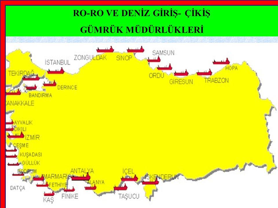 MADDE 4 8) Taşıtların, ek-5'te yer alan İstanbul, İzmit, Zonguldak, Sinop, Samsun, Ordu, Giresun, Trabzon, Rize, Hopa, Tekirdağ, Yalova, Gemlik, Mudanya, Bandırma, İzmir, Çeşme, Mersin ve İskenderun deniz giriş- çıkış kapılarından çıkış yapılmak üzere sevk edilmeleri istenildiğinde; sözkonusu deniz giriş-çıkış kapıları bu Tebliğde RO-RO olarak belirtilmiş olsun ya da olmasın taşıyıcının talebi, giriş veya hareket gümrük idarelerince bu Tebliğ hükümlerine göre karşılanır.
