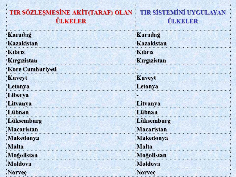 TIR SÖZLEŞMESİNE AKİT(TARAF) OLAN ÜLKELER TIR SİSTEMİNİ UYGULAYAN ÜLKELER KaradağKaradağ KazakistanKazakistan KıbrısKıbrıs KırgızistanKırgızistan Kore Cumhuriyeti - KuveytKuveyt LetonyaLetonya Liberya- LitvanyaLitvanya LübnanLübnan LüksemburgLüksemburg MacaristanMacaristan MakedonyaMakedonya MaltaMalta MoğolistanMoğolistan MoldovaMoldova NorveçNorveç ÖzbekistanÖzbekistan