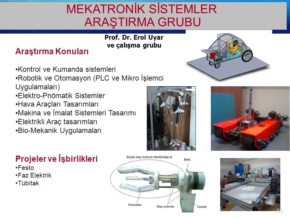 http://electronics.ege.edu.tr Elektrik-Elektronik Mühendisliği Bölümü Prof. Dr. Erol Uyar ve çalışma grubu MEKATRONİK SİSTEMLER ARAŞTIRMA GRUBU Araştı