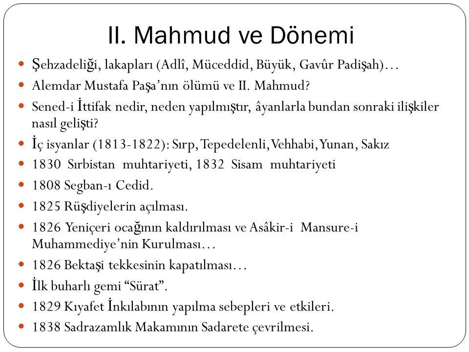 II. Mahmud Dönemi Sınırları