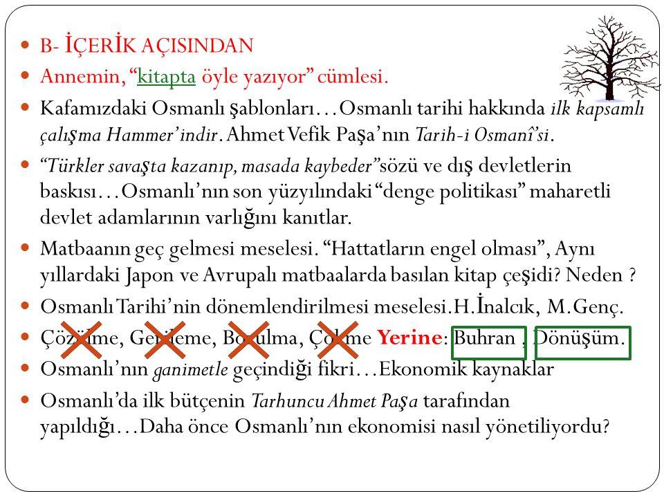 Osmanlı Tarihine Yeniden Bakmak A- YÖNTEMSEL AÇIDAN Modern kavram ve kurumları tarihte aramak… Örnek ?? Tarihi kavram ve kurumları günümüze aktarmak…