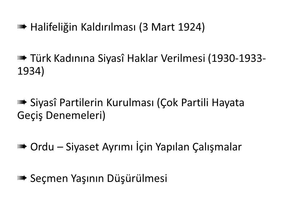 Cumhuriyetçilik Doğrultusunda Yapılan İnkılâplar ➠ TBMM'nin Açılması (23 Nisan 1920) ➠ 1921 ve 1924 Anayasaları'nın Kabul Edilmesi ➠ Saltanat'ın Kaldı