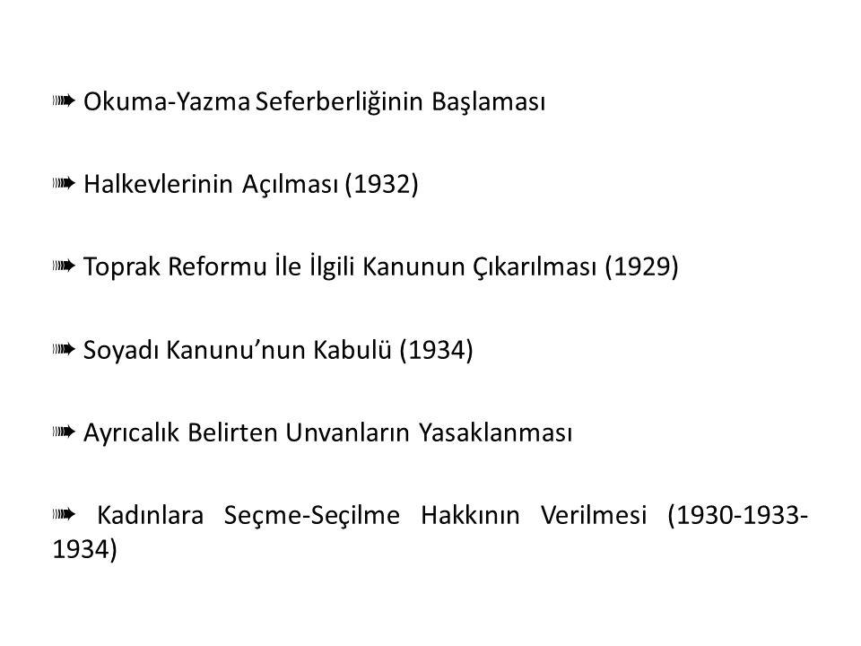 Halkçılık Doğrultusunda Yapılan İnkılâplar ➠ Tevhid-i Tedrisat Kanunu'nun Çıkarılması (3 Mart 1924) ➠ Aşar Vergisinin Kaldırılması (1925) ➠ Türk Meden