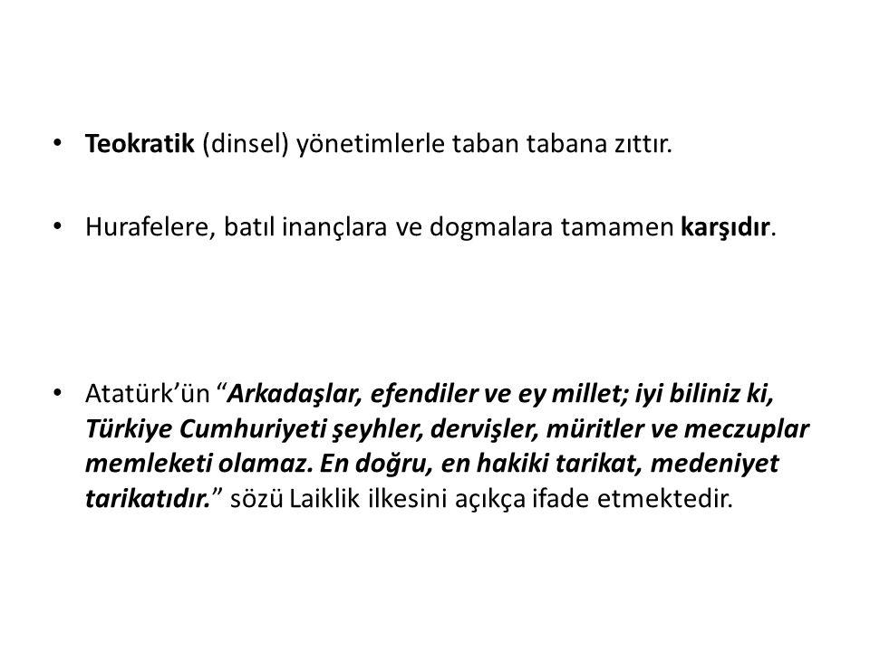 D. Laiklik Laiklik, din ve devlet işlerinin birbirinden ayrılması anlamına gelmektedir. Devlet düzeninin ve hukuk kurallarının dine dayandırılmamasıdı
