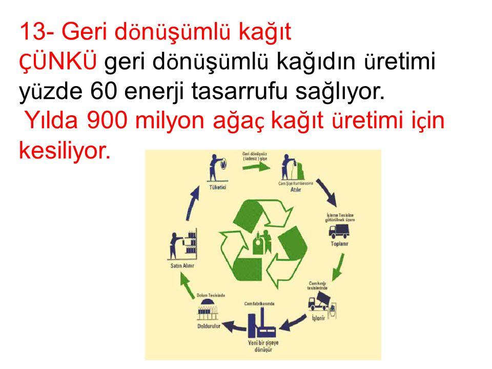 13- Geri d ö n ü ş ü ml ü kağıt ÇÜ NK Ü geri d ö n ü ş ü ml ü kağıdın ü retimi y ü zde 60 enerji tasarrufu sağlıyor.